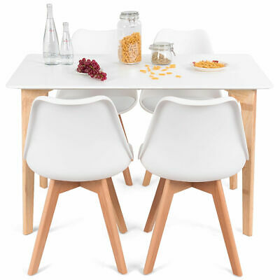 5 Piece Mid-Century Dining Set Rectangular Table and 4 Chairs Modern White New