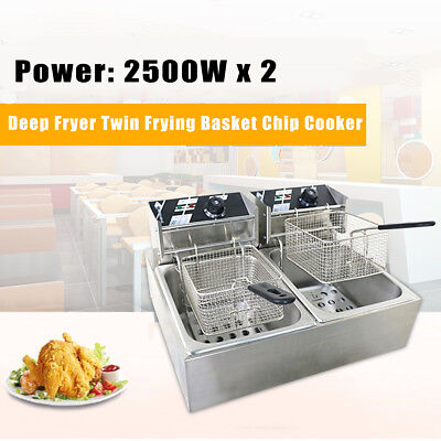 AU 5000W 5KW Chef Electric Commercial Deep Fryer Twin Frying Basket Chip Cooker