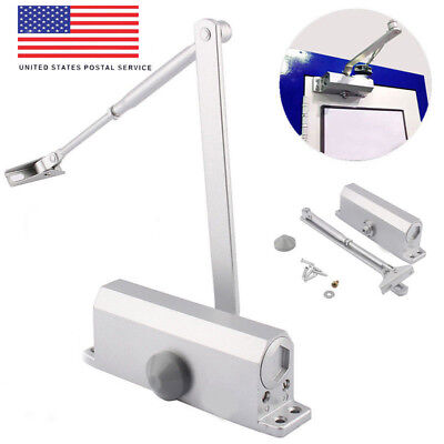 45-65KG Silver Aluminum Commercial Door Closer Two Independent Valves Control