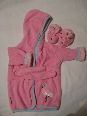 Carters Baby Girl's 0-9 Mos Bath Robe and Booties: Pink Flamingo Hooded