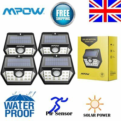 Mpow Pir Motion Sensor 20Led Solar Light Super Bright Security Wall Lamp Outdoor