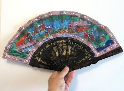 Antique 100 Faces Chinese Gilt Lacquered  And Paper Brise Fan Handpainted