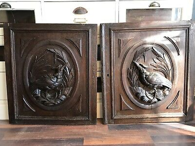Antique Vintage French/German hunting style carved wood panels in oak