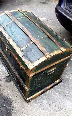 Large Antique trunk chest wood and  metal  bound Brass  studs. 2 strong handles