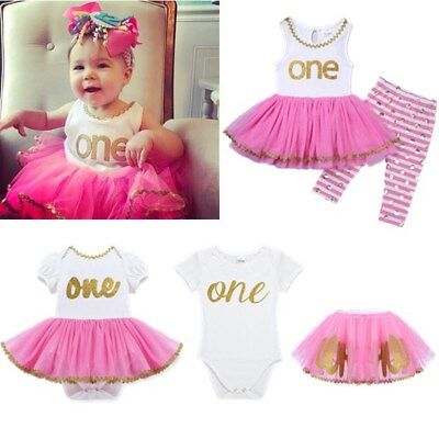 Infant Baby Girls 1st First Birthday Romper/Top Tutu Dress+Pants Outfits Clothes