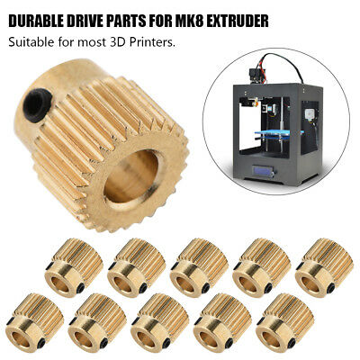 10pcs MK7 MK8 Extruder Drive Gear Pulley 5mm Bore Brass 26/40T For 3D Printer