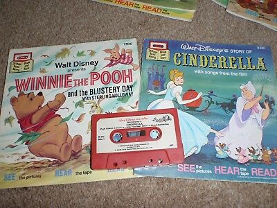 Disney CINDERELLA WINNiE THE POOH BLUSTERY DAY Read Along BOOK on Tape CASSETTE