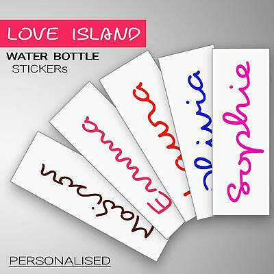 Love Island Text Personalised Name Water Bottle Pink Sticker Decal Make Your Own