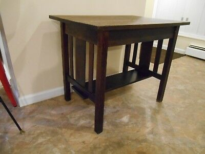 ANTIQUE MISSION SOLID OAK TABLE ARTS AND CRAFTS STICKLY EARLY 1900's VG