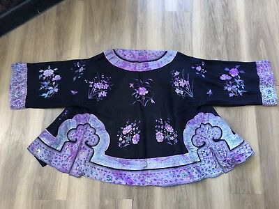 Antique vintage Chinese embroidered black wedding evening jacket 1920s deco