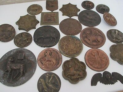 23 Old Unusual Medieval ? Gothic Bronze and Metal Plaques - Templates