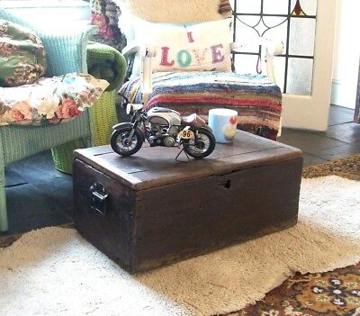 Antique Victorian Pine Chest Coffee Table, Old Vintage Wooden Tool Storage Trunk