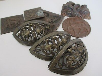 8 Old Unusual Gothic Bronze - Metal Castings - Plaques with Mythical Beasts etc