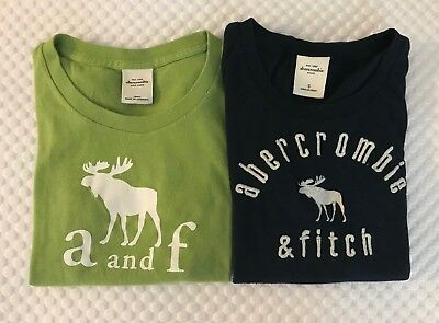 Lot of 2 Abercrombie Girls Graphic Logo Short Sleeve Tops Size Small