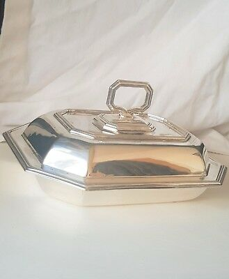 Antique Hard Soldered Silver Plate Rectangular Serving Dish With Lid