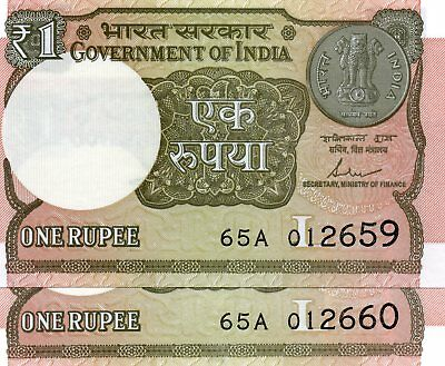 INDIA 1 Rupee 2017 P NEW Letter L x 2 Consecutive UNC Banknotes