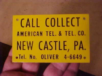 Vintage Metal At&t Telephone Sign New Castle Pa.