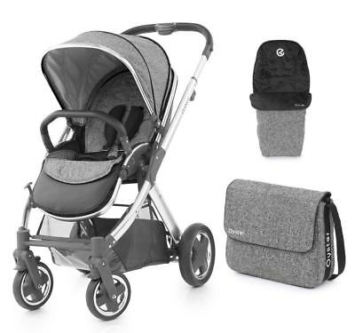 Babystyle Oyster 2 pushchair in Wolf grey with mirror chassis bag footmuff & pvc
