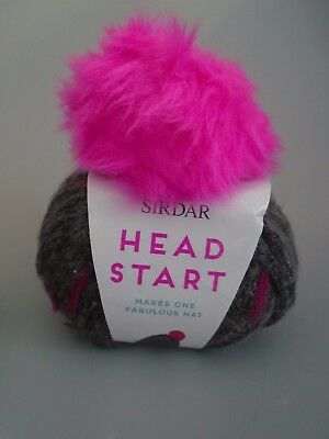 New Sirdar Head Start Pink Rocks Pom Pom Hat  Wool Knitiing Making  Kit