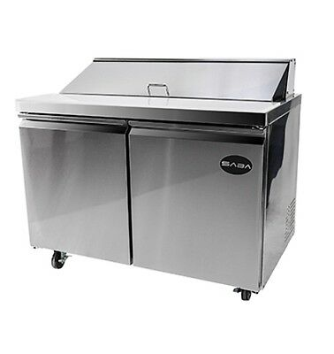 "New 47"" 2 Door 12 Pan Sandwich Unit Salad Refrigerator Prep Table Cooler Casters"