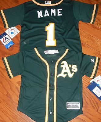 Oakland Athletics ALT MLB Majestic Kids 4/7 Replica Jersey add  name and number