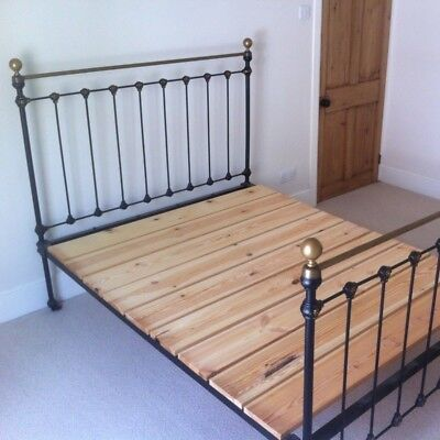 Antique Brass & Iron Queen Size (Small Double) bed with wooden slats