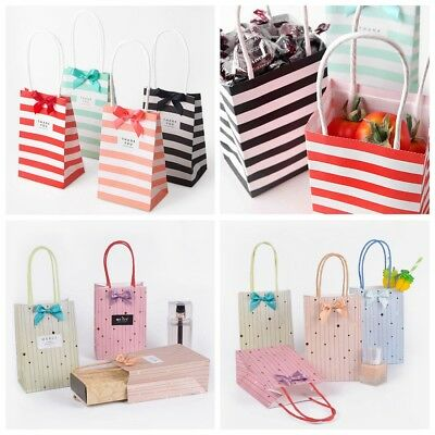 Stripe Paper Party Bags Gift Bag Loot Bag Handles Birthday Wedding Favour Gift