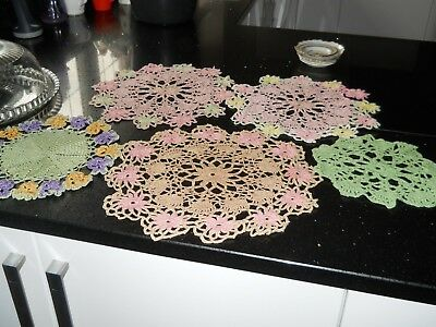 Vintage 1960's Hand Crochet Assorted Dressing Table Mats -Doilies  5pc