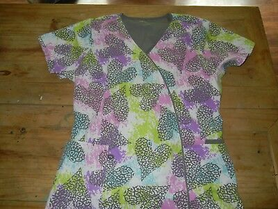 Green Town Womens Scrub Top size large