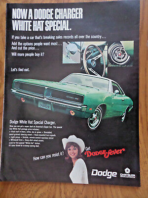 1969 Dodge Charger Ad  Now a Dodge Charger White Hat Special