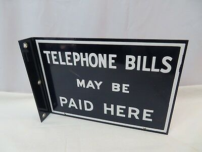 Original Bell System Public Telephone Sign - Double Sided Porcelain