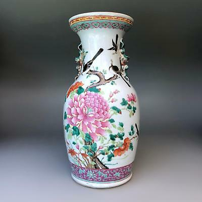 Large 45cm antique Chinese famille rose baluster vase with birds - 19th century