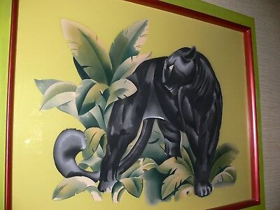 Fabulous Amazing Large Vintage  Mid Century Tropical Panther Airbrush Painting