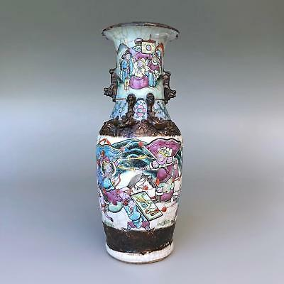 Fine antique Chinese porcelain famille rose crackled glaze vase 19th century