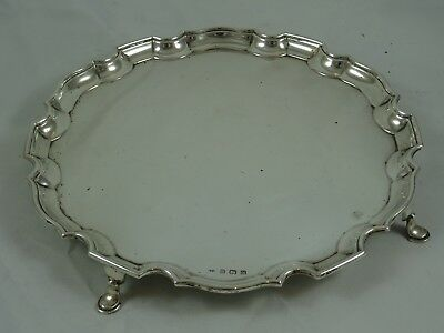 STUNNING solid silver SALVER, 1937, 517gm
