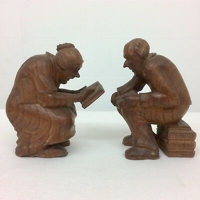 2 Rare * Antique CARVED OAK FIGURES * Old Man & Woman * Reading * BOOK ENDS