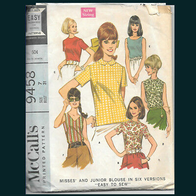 Vintage McCall's Pattern 9458 Misses' Blouse in Six Versions Size 7 Lot B