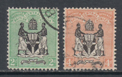 British Central Africa Scott 22-23 SG 22-23 1895 2d & 4d Coat of Arms SCV $67.00