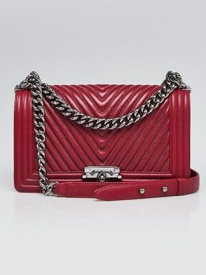 2a773d2b83f7 CHANEL RED CHEVRON Quilted Lambskin Leather Medium Boy Flap Bag ...