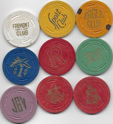 9 Different Large Crown Casino Or Card Room Chips-Lot 1 Of 3