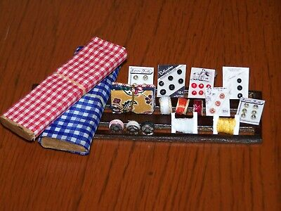 Dollhouse Miniatures SEWING ROOM ACCESSORIES LOT FABRIC BOLTS-BUTTON CARDS MISC
