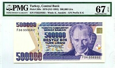 MONEY TURKEY 500,000 LIRA 1970 ND 1993 CENTRAL BANK PMG GEM UNC PICK #208c