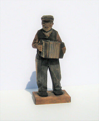Vintage SIGNED TRYGG Wooden Carved Musician, Accordion Player, Wood Folk Art