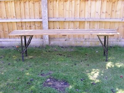 Vintage School Bench With Metal Folding Legs Ideal As A Plant Bench Garden Bench