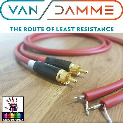 Van Damme - Monster Silver Plated OFC RCA to bare wires for turntables - Red 1m