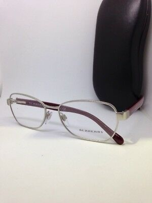 eec0ead73cf4 New Authentic Burberry B 1239 1003 Silver Burgundy Eyeglasses Italy size  54-17mm