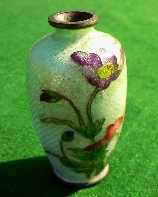 Antique 1800s Small Japanese Ginbari Enamel Guilloche Foil Vase, Floral
