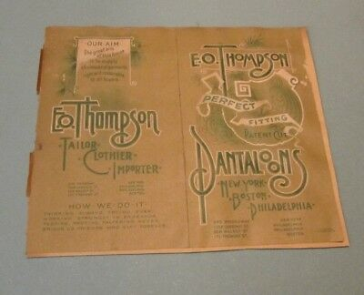 WWI Era E O Thompson Perfect Fitting Pantaloons Tailor Clothier Advertising Card