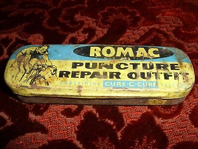 Vintage 1960's Romac Puncture Repair Outfit Tin- With Contents