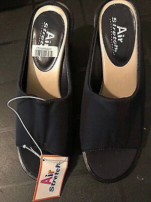 Womens Air Stretch Black Slip On Shoes Fabric Uppers Open Toes Heel Nwt 6.5